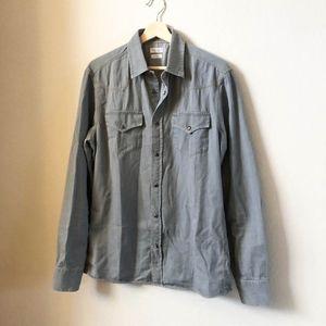 BRUNELLO Cucinelli Western Denim Chambray Shirt M